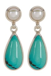 Exex Design Jewelry Sterling Silver Kingman 6Mm Natural Pearl And Turquoise Earrings Blue