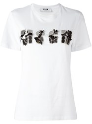Msgm Logo Applique T Shirt White
