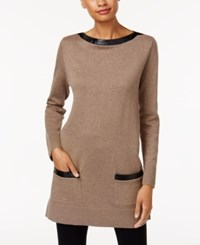 Jeanne Pierre Faux Leather Trim Sweater Taupe Heather