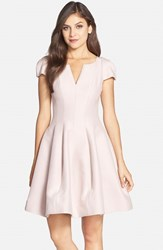 Halston Women's Heritage Cotton And Silk Fit And Flare Dress Barely Pink