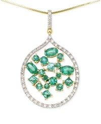 Rare Featuring Gemfields Certified Emerald 1 3 4 Ct. T.W. And Diamond 1 3 Ct. T.W. Scatter Pendant Necklace In 14K Gold Yellow Gold