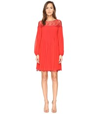 The Kooples Chiffon And Lace Long Sleeve Dress Red