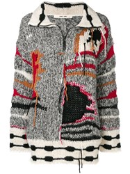Damir Doma Colour Block Embroidered Sweater Grey