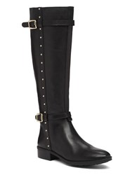 Vince Camuto Preslen Studded Leather Riding Boots Black