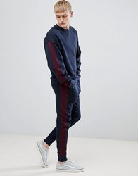 Asos Design Tracksuit Oversized Sweatshirt Skinny Joggers With Side Stripe In Navy And Burgundy Navy Kidney