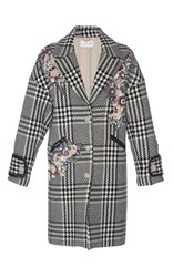 Zuhair Murad Tweed Embroidered Coat Black White