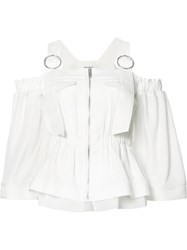 Christian Dada Gathered Cut Out Blouse White