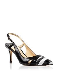 Ivanka Trump Pointed Toe Slingback Pumps Billa High Heel Black White Black