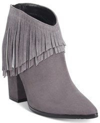 Kenneth Cole Reaction Pull Ashore Fringe Booties Women's Shoes Charcoal