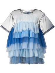 Viktor And Rolf Tiered Tulle Dress Blue