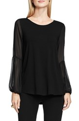 Vince Camuto Women's Chiffon Bishop Sleeve Knit Top Rich Black