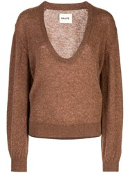 Khaite Plunging Neck Sweater Brown