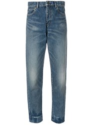 Saint Laurent High Waist Boyfriend Jeans Cotton Blue