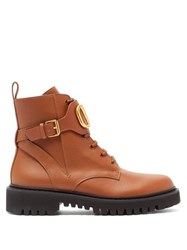 Valentino V Logo Leather Lace Up Boots Tan