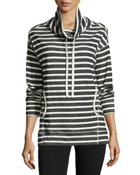 Max Studio Striped Funnel Neck Sweatshirt Black Natural