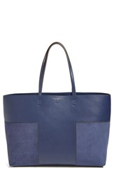 Tory Burch 'Block T' Leather Tote Blue True Navy