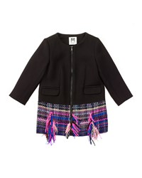 Milly Minis Tweed Hem Zip Front Combo Jacket Black Multicolor