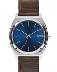 Nixon Brown Time Teller Gator Leather Watch With Blue Dial