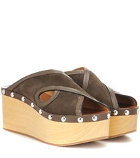 Isabel Marant Zipla Suede And Wood Sandals Brown