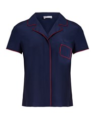 Red Valentino Contrast Piping Silk Top Navy