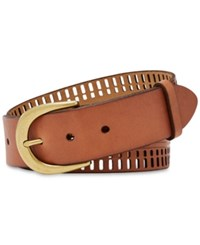 Fossil Claire Perforated Leather Belt Tan