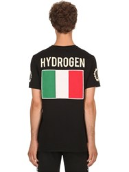 Hydrogen Garage Italia Logo Cotton Jersey T Shirt Black