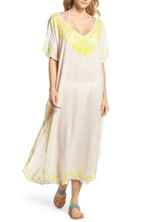 Echo Embroidered Cover Up Caftan Stone