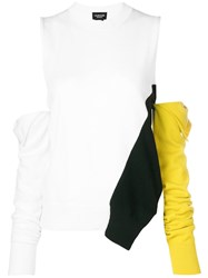 Calvin Klein 205W39nyc Cold Shoulder Removable Sleeve Sweater White