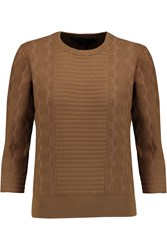 Marc By Marc Jacobs Lucinda Jacquard Knit Cotton Blend Sweater Brown