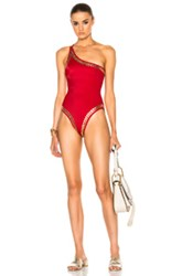Norma Kamali Gold Stud One Shoulder Swimsuit In Red