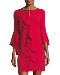 Laundry By Shelli Segal Asymmetric Ruffle Keyhole Mini Dress Red