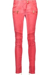 Balmain Moto Style Low Rise Skinny Jeans Coral