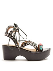 Toga Polido Lace Up Wedge Sandals Black Multi