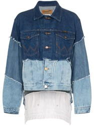 Natasha Zinko Frayed Patchwork Denim Jacket Blue