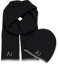 Armani Jeans Logo Embroidered Beanie Hat And Scarf Gift Set Black Nero