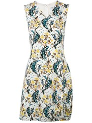 Christian Dior Floral Print V Neck Dress White