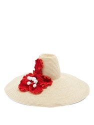 Rosie Assoulin Flower Crochet Oversized Hemp Straw Hat Red