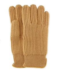 Portolano 11 Suede Piped Knit Wool Gloves Camel