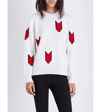 Rag And Bone Jackson Intarsia Arrow Print Wool Jumper Ivory