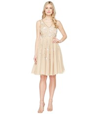 Adrianna Papell Sleeveless Tea Length Beaded Dress Champagne Women's Dress Gold