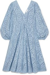 Ganni Broderie Anglaise Cotton Midi Dress Light Blue