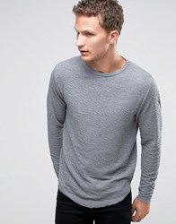 Selected Homme Long Sleeve O Neck Top With Curved Hem Dark Grey