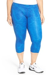 Nike Plus Size Women's 'Essential' Print Dri Fit Crop Leggings Deep Royal Blue Silver