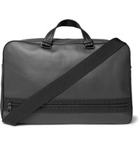 Bottega Veneta Intrecciato Trimmed Leather Holdall Gray