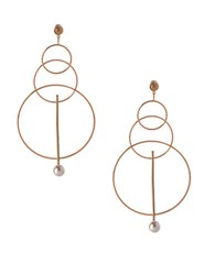 Bcbgeneration Pearl Group Faux Pearl And 12K Yellow Goldplated Triple Circle Drop Earrings