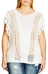 City Chic Plus Size Women's 'Autumn' Fringe Trim Open Work Sweater Eggshell