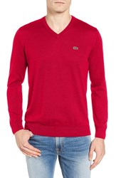 Lacoste Men's Jersey V Neck Sweater Bright Cherry Red
