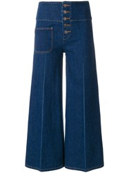 Marc Jacobs Cropped High Waist Trousers Cotton Blue