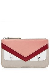 Fendi Leather Bug Key Case Pouch Multicolor