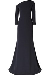 Lela Rose One Shoulder Gathered Stretch Crepe Gown Navy